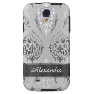 Chic elegant silver gray personalized damask galaxy s4 case