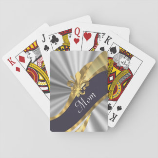 Chic elegant silver mothers day playing cards