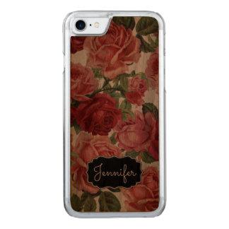 Chic Elegant Vintage Pink Red roses floral name Carved iPhone 7 Case