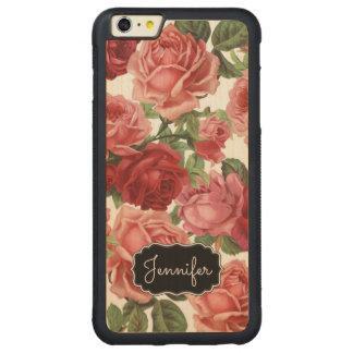 Chic Elegant Vintage Pink Red roses floral name Carved® Maple iPhone 6 Plus Bumper Case