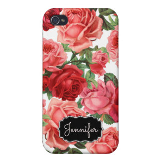 Chic Elegant Vintage Pink Red roses floral name Case For The iPhone 4