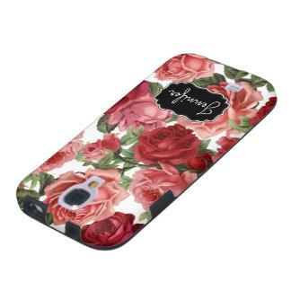 Chic Elegant Vintage Pink Red roses floral name Galaxy S4 Case