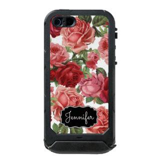 Chic Elegant Vintage Pink Red roses floral name Incipio ATLAS ID™ iPhone 5 Case