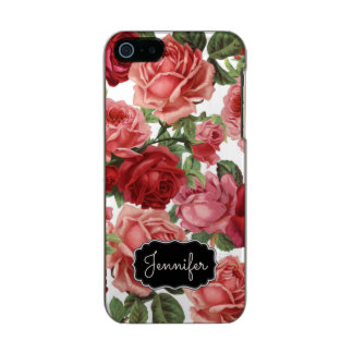 Chic Elegant Vintage Pink Red roses floral name Incipio Feather® Shine iPhone 5 Case
