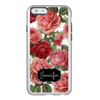 Chic Elegant Vintage Pink Red roses floral name Incipio Feather® Shine iPhone 6 Case