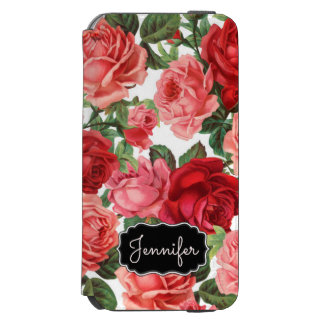 Chic Elegant Vintage Pink Red roses floral name Incipio Watson™ iPhone 6 Wallet Case