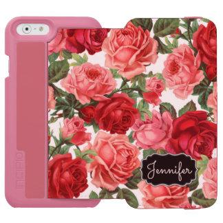 Chic Elegant Vintage Pink Red roses floral name Incipio Watson™ iPhone 6 Wallet Case