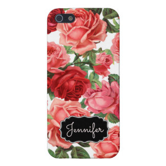 Chic Elegant Vintage Pink Red roses floral name iPhone 5/5S Cover