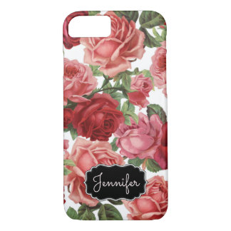 Chic Elegant Vintage Pink, Red, roses floral name iPhone 7 Case