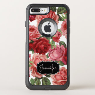 Chic Elegant Vintage Pink, Red, roses floral name OtterBox Commuter iPhone 8 Plus/7 Plus Case