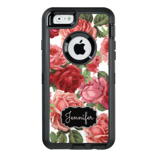 Chic Elegant Vintage Pink, Red, roses floral name OtterBox Defender iPhone Case