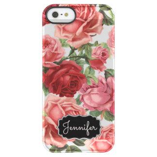 Chic Elegant Vintage Pink Red roses floral name Permafrost® iPhone SE/5/5s Case