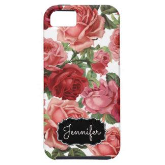 Chic Elegant Vintage Pink, Red, roses floral name Tough iPhone 5 Case