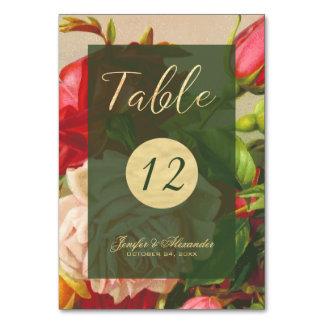 Chic elegant vintage roses golden script wedding table cards