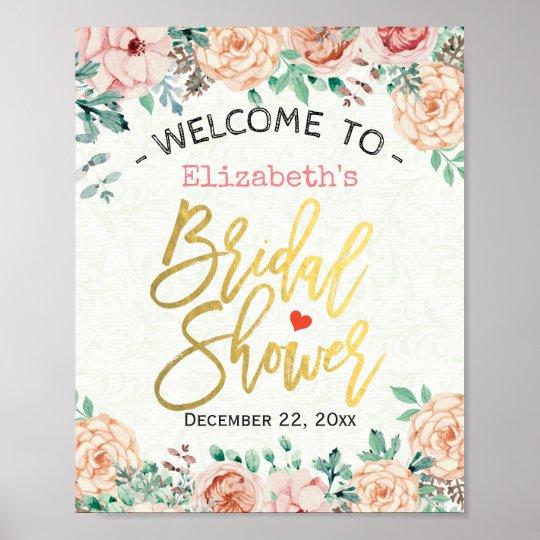 Chic Elegant Watercolor Floral Bridal Shower Sign