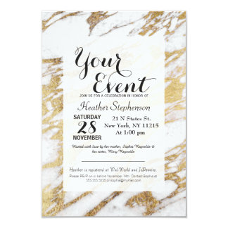Chic Elegant White and Gold Marble Pattern 9 Cm X 13 Cm Invitation Card