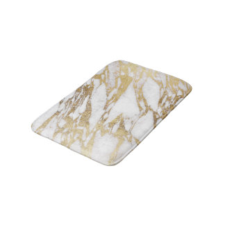 Chic Elegant White and Gold Marble Pattern Bath Mat