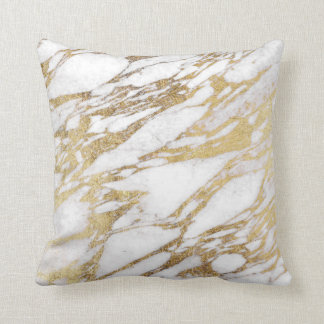 Chic Elegant White and Gold Marble Pattern Cushion