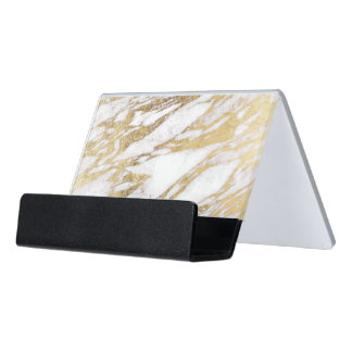 Chic Elegant White and Gold Marble Pattern Desk Business Card Holder