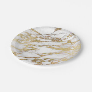 Chic Elegant White and Gold Marble Pattern Paper Plate