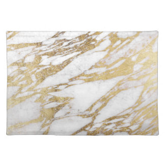 Chic Elegant White and Gold Marble Pattern Placemat