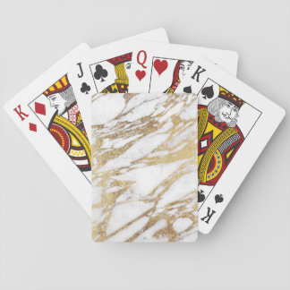Chic Elegant White and Gold Marble Pattern Playing Cards