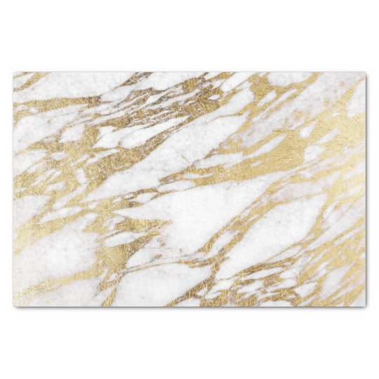 Chic Elegant White and Gold Marble Pattern Tissue