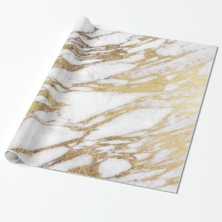 Chic Elegant White and Gold Marble Pattern Wrapping Paper