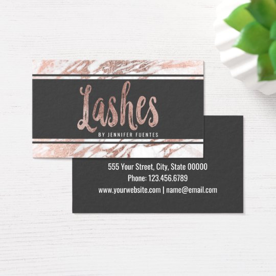 Chic Elegant White and Rose Gold Marble Lashes