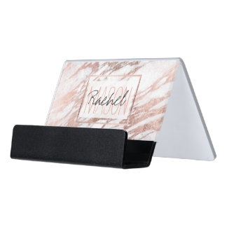 Chic Elegant White and Rose Gold Marble Monogram Desk Business Card Holder