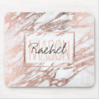 Chic Elegant White and Rose Gold Marble Monogram Mouse Mat