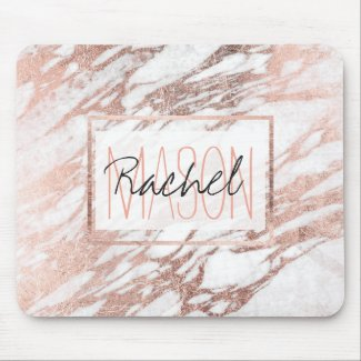 White and Rose Gold Marble Monogram Mouse Mat