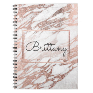Chic Elegant White and Rose Gold Marble Monogram Notebooks