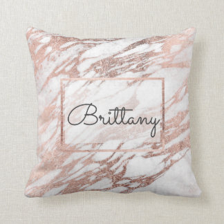 Chic Elegant White and Rose Gold Marble Monogram Throw Pillow