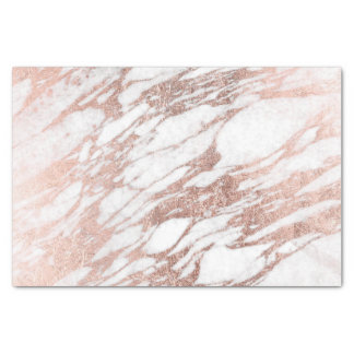 "Chic Elegant White and Rose Gold Marble Pattern 10"" X 15"" Tissue Paper"