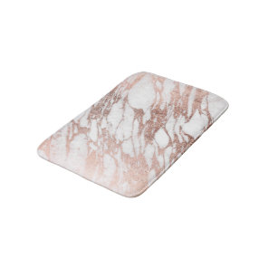 Chic Elegant White and Rose Gold Marble Pattern Bath Mat