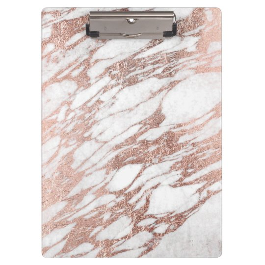 Chic Elegant White and Rose Gold Marble Pattern