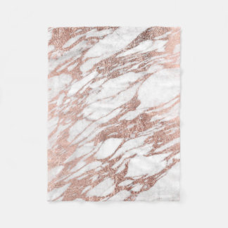 Chic Elegant White and Rose Gold Marble Pattern Fleece Blanket