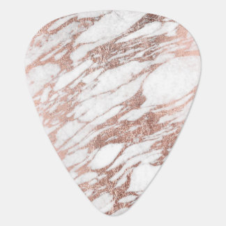 Chic Elegant White and Rose Gold Marble Pattern Guitar Pick