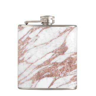 Chic Elegant White and Rose Gold Marble Pattern Hip Flask