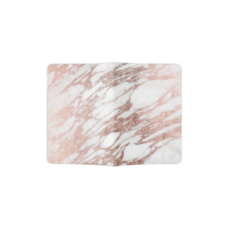 Chic Elegant White and Rose Gold Marble Pattern Passport Holder