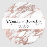 Chic Elegant White and Rose Gold Marble Pattern Round Sticker