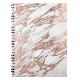 Chic Elegant White and Rose Gold Marble Pattern Spiral Note Book