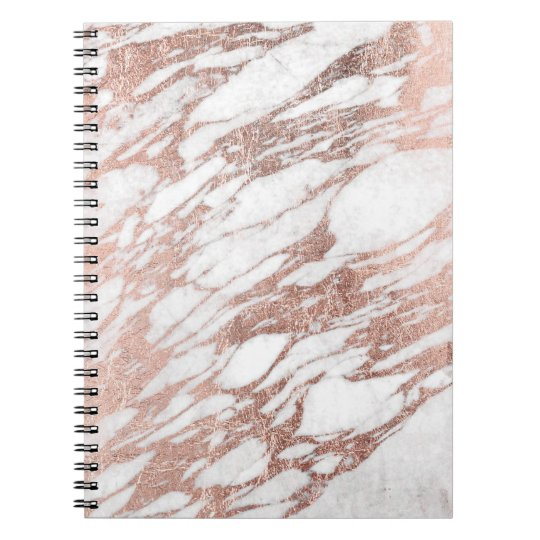 Chic Elegant White and Rose Gold Marble Pattern Spiral Notebook