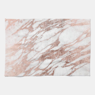 Chic Elegant White and Rose Gold Marble Pattern Tea Towel