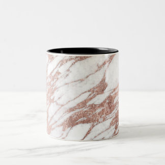 Chic Elegant White and Rose Gold Marble Pattern Two-Tone Coffee Mug