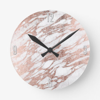 Chic Elegant White and Rose Gold Marble Pattern Wall Clocks