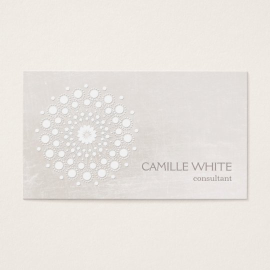 Chic Elegant White Circle Mandala Ivory Business Card
