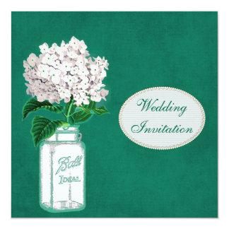 Chic Emerald Green Mason Jar & Hydrangea Wedding 5.25x5.25 Square Paper Invitation Card