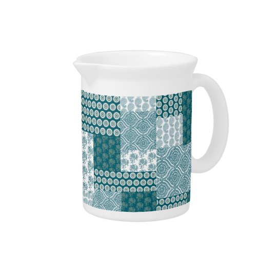 Chic Ethnic Faux Patchwork Pattern, Teal and White Pitcher